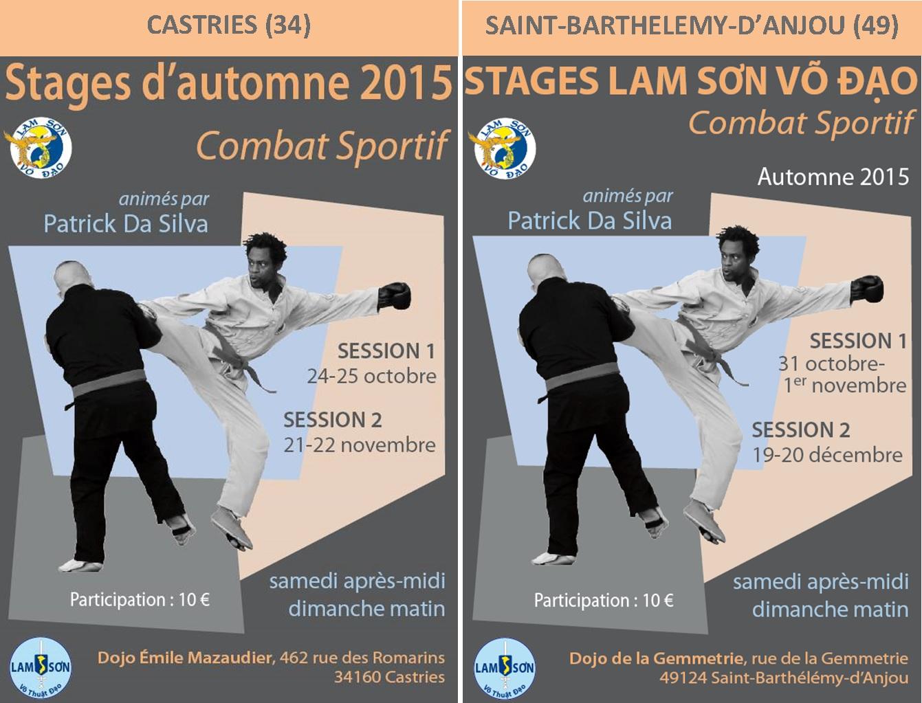 Stages combat Patrick-Automne 2015