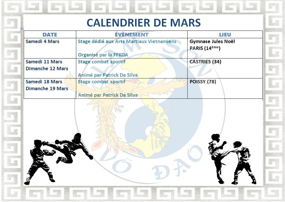 Calendrier Ffkda 2019 2020.Calendrier De Mars Lam Son Vo Dao Poissy