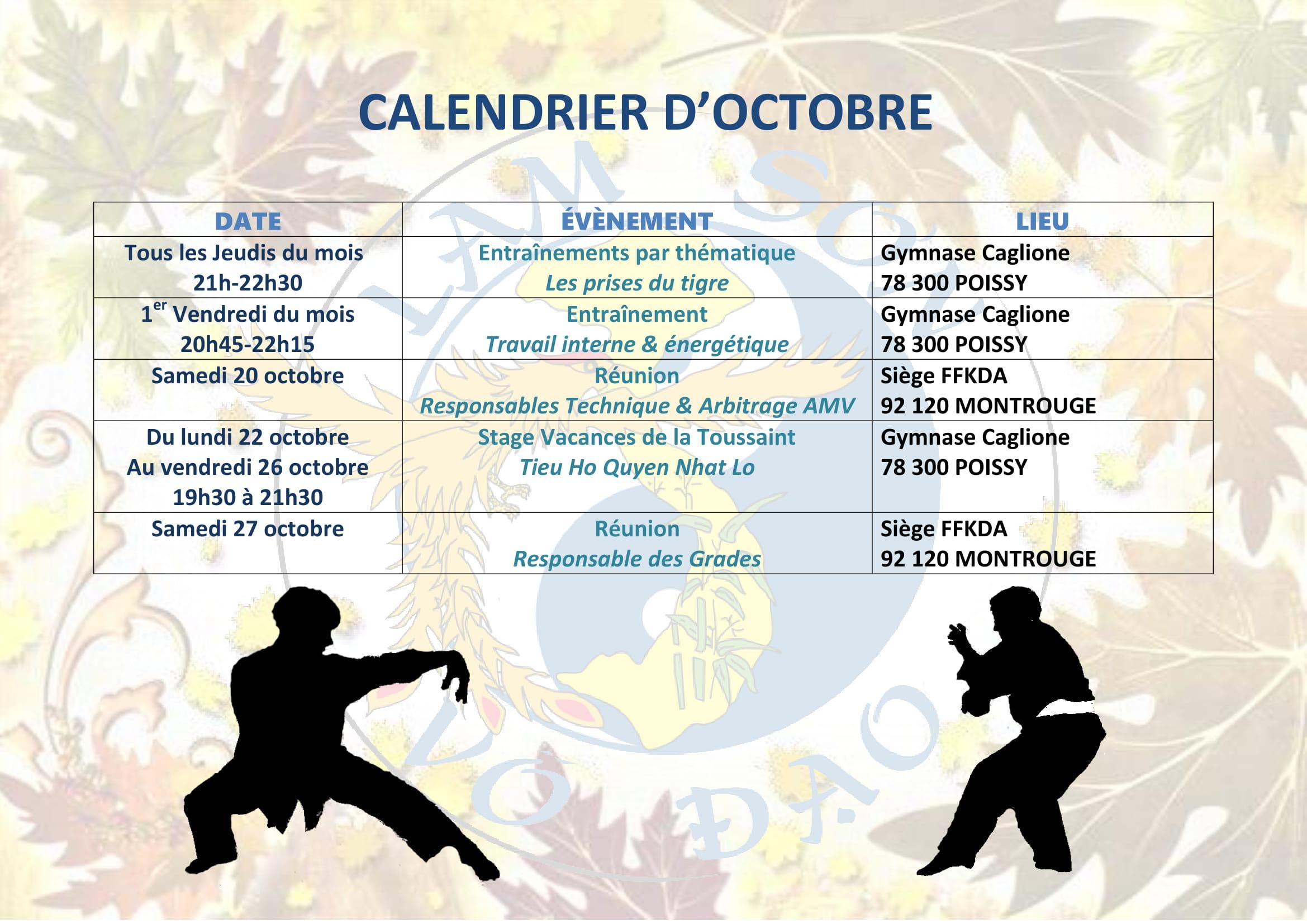 Calendrier Ffkda 2019 2020.Calendrier D Octobre Lam Son Vo Dao Poissy
