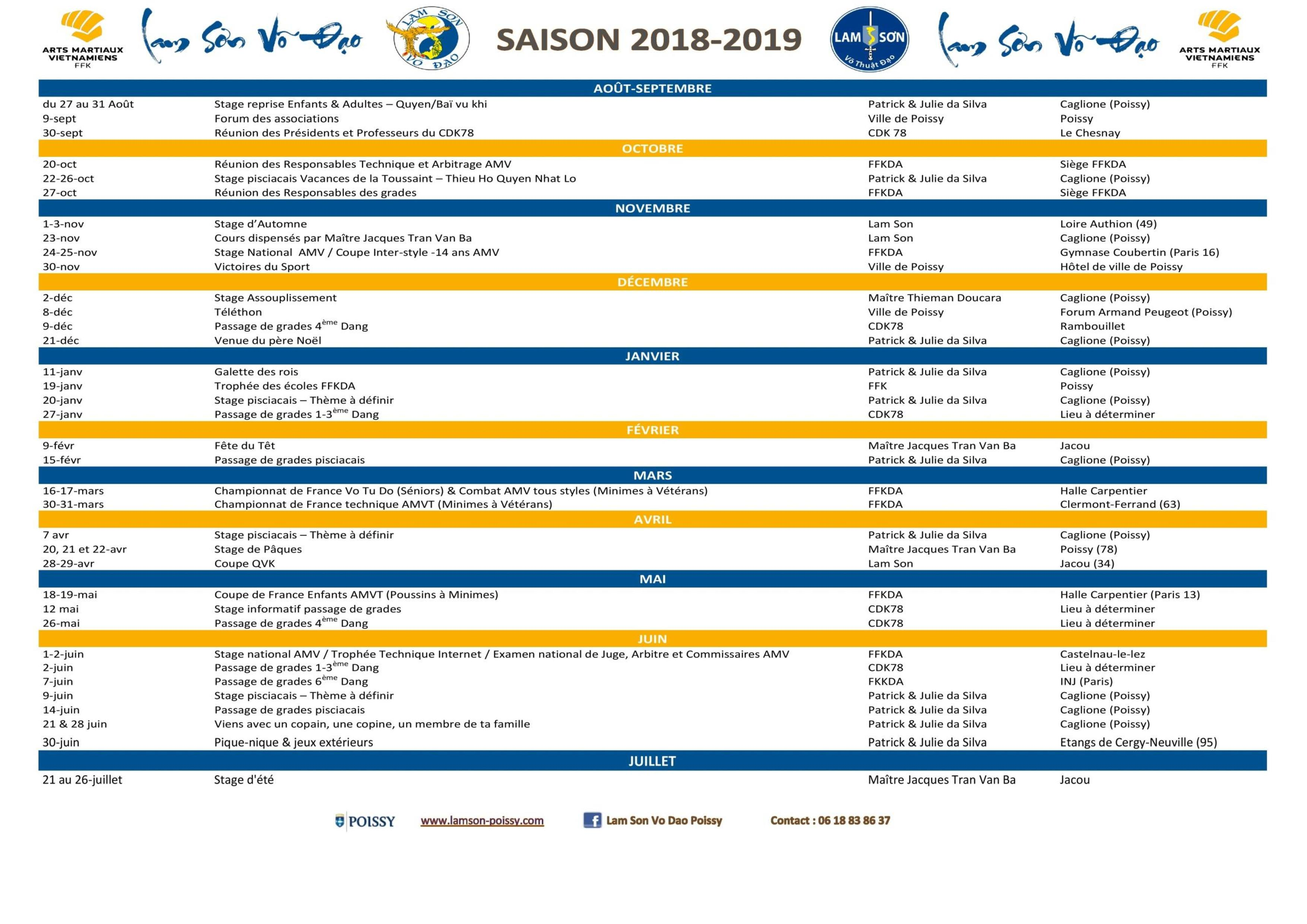 Calendrier Ffkda 2019 2020.Actualites Page 9 Sur 28 Lam Son Vo Dao Poissy