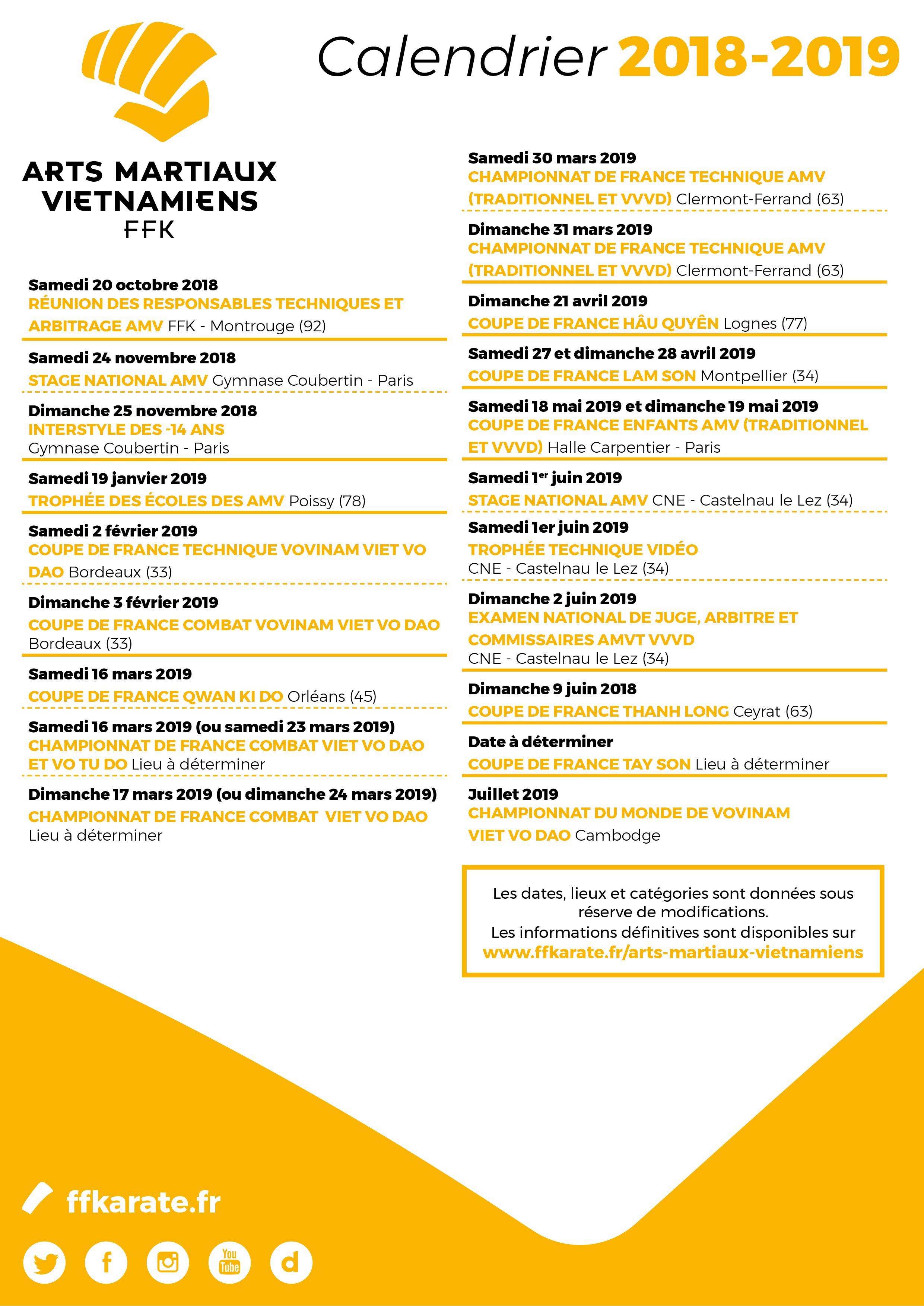 Calendrier Ffkda 2019 2020.Calendrier Des Amv 2018 2019 Lam Son Vo Dao Poissy